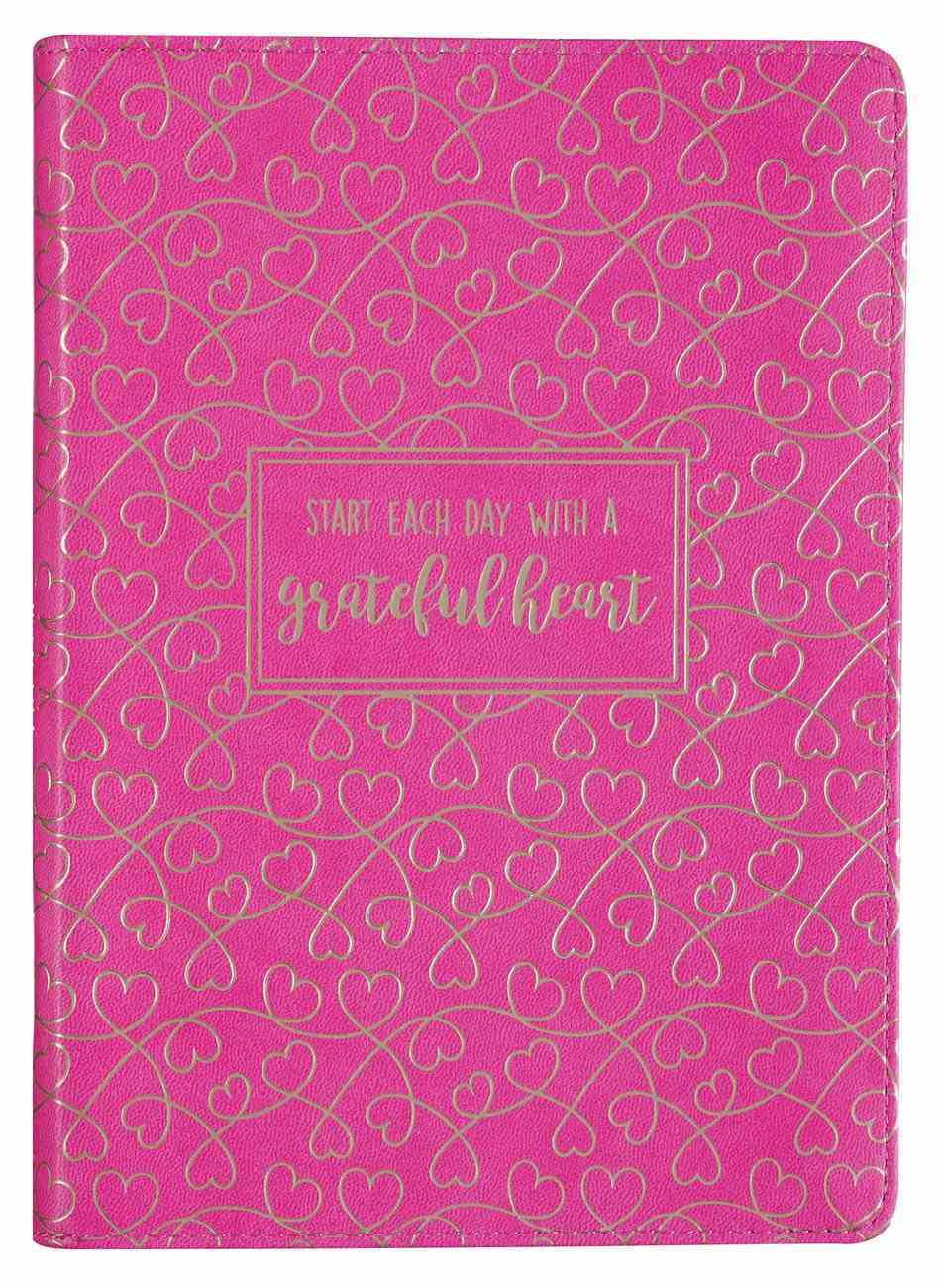 Zippered Journal: Grateful Heart, Pink Imitation Leather
