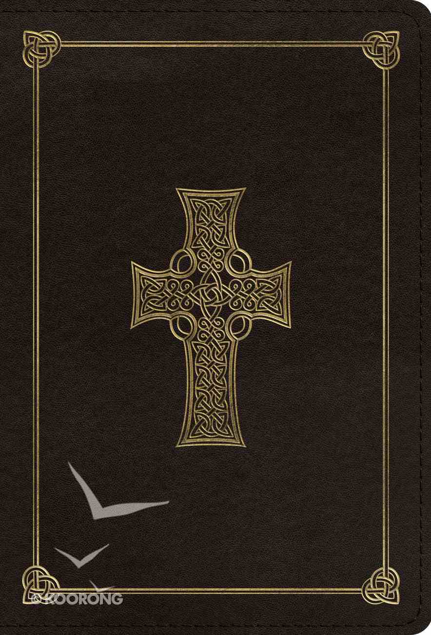 ESV Large Print Compact Bible Charcoal Celtic Cross Design (Red Letter Edition) Imitation Leather