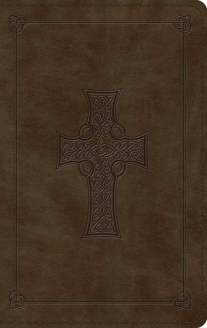 ESV Large Print Thinline Bible Olive Celtic Cross Design (Black Letter Edition) Imitation Leather