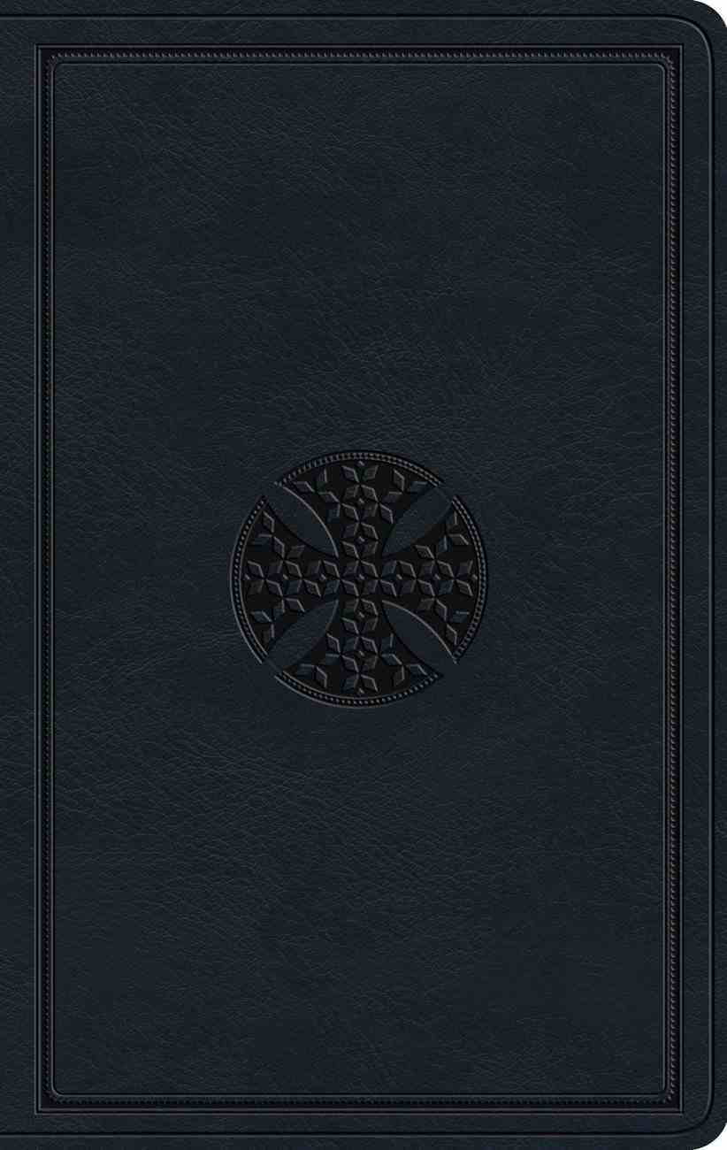 ESV Large Print Value Thinline Bible Navy Mosaic Cross Design (Black Letter Edition) Imitation Leather