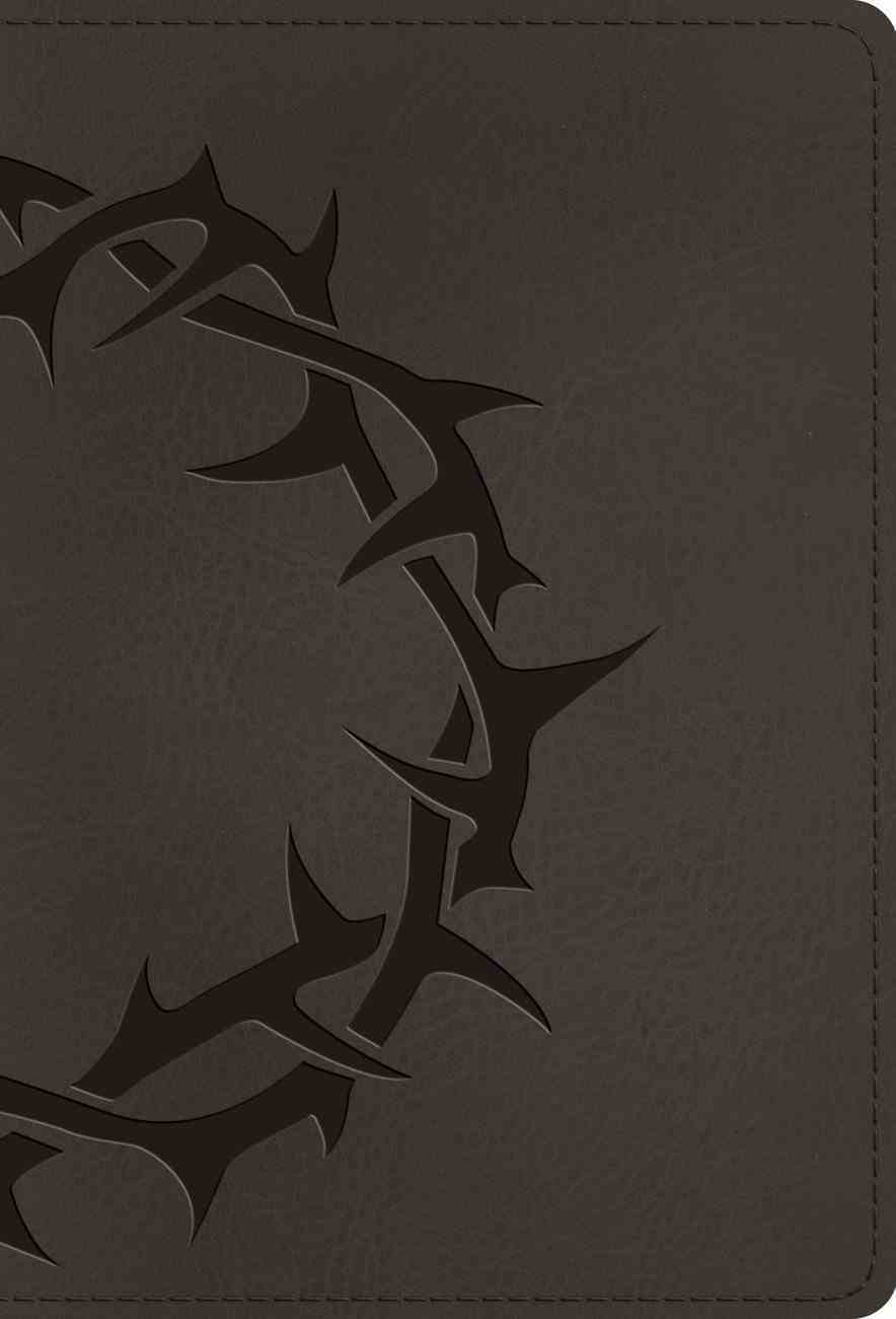 ESV Large Print Compact Bible Charcoal Crown Design (Red Letter Edition) Imitation Leather