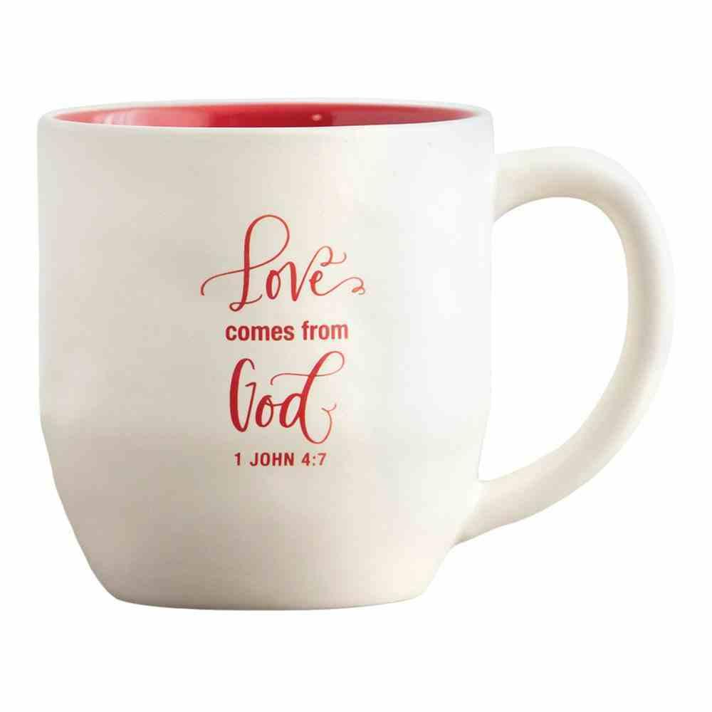 Ceramic Christmas Mug: Love, Embossed Detail on Front (1 John 4:7 On Back) Homeware