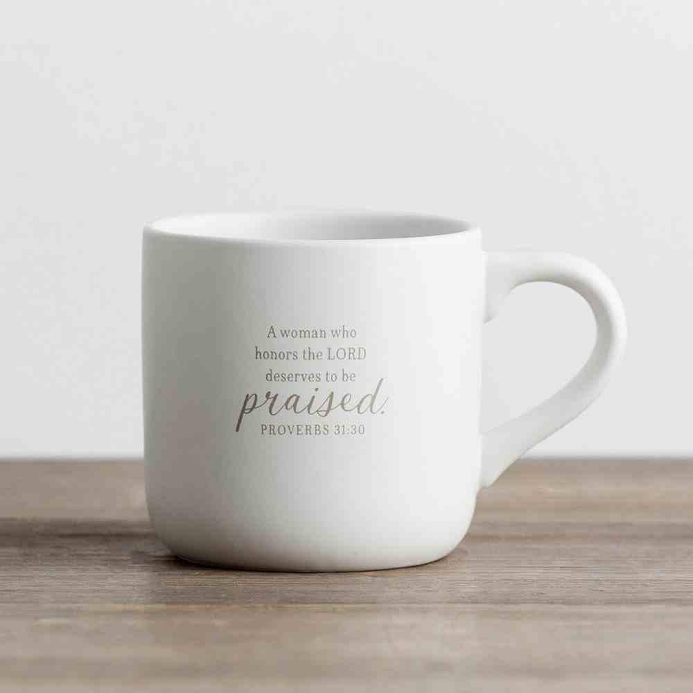 Ceramic Mug: Treasured, Honored & Loved, White/Grey (Proverbs 31:30) Homeware