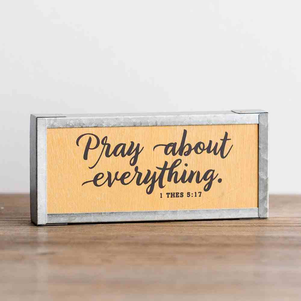 Wood & Metal Wall Decor: Pray About Everything (1 Thess 5:17) Plaque
