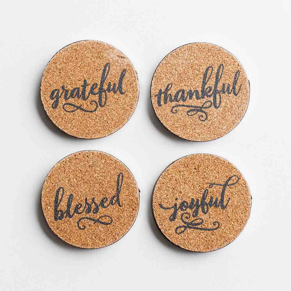 Cork & Metal Coaster Set of 4: Thankful; Grateful; Blessed; Joyful Homeware