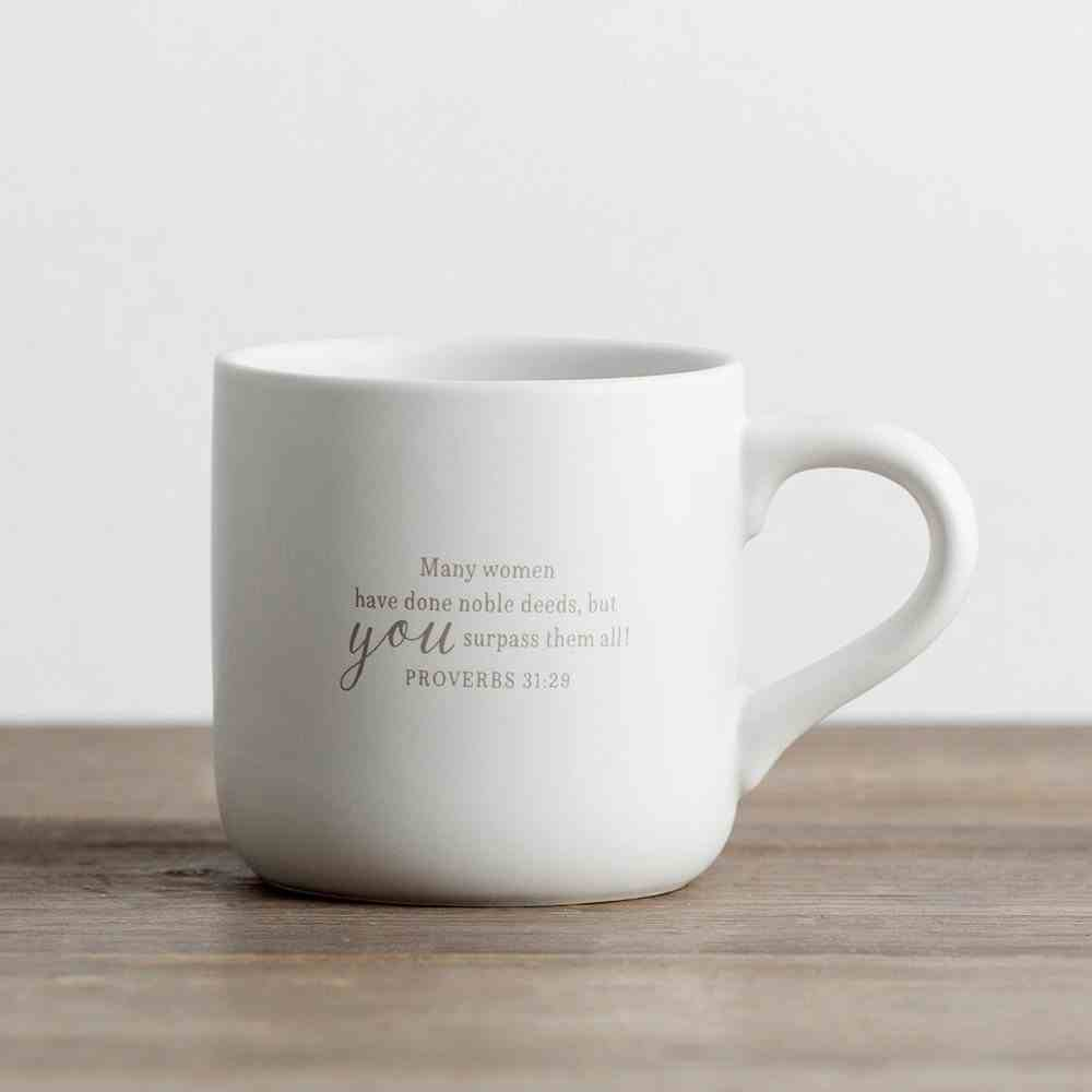 Ceramic Mug: You Put the 'Grand' in Grandmother!, White/Grey (Proverbs 31:29) Homeware