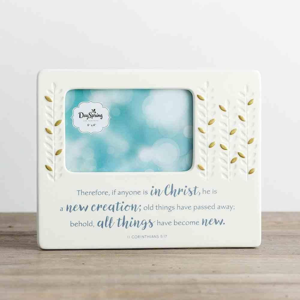 Ceramic Photo Frame: Baptism, Cream/Blue/Gold (2 Cor 5:17 Nkjv) Homeware