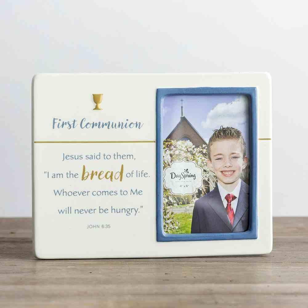 Ceramic Photo Frame: First Communion, Cream/Blue (John 6:35 Nrsv) Homeware