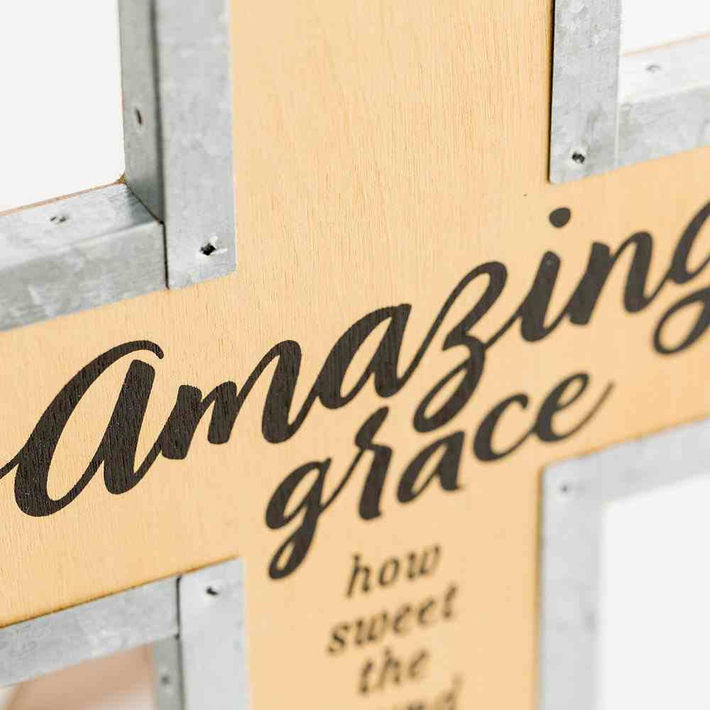 Wood Metal Wrap Cross: Amazing Grace Plaque