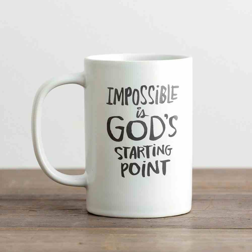 Ceramic Mug: Impossible is God's Starting Point, White/Grey Homeware