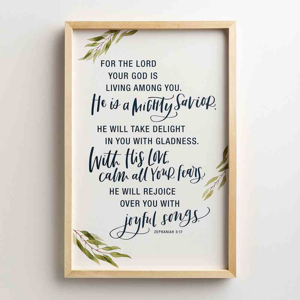 Framed Wall Art: Mighty Savior (Zephaniah 3:17) Plaque