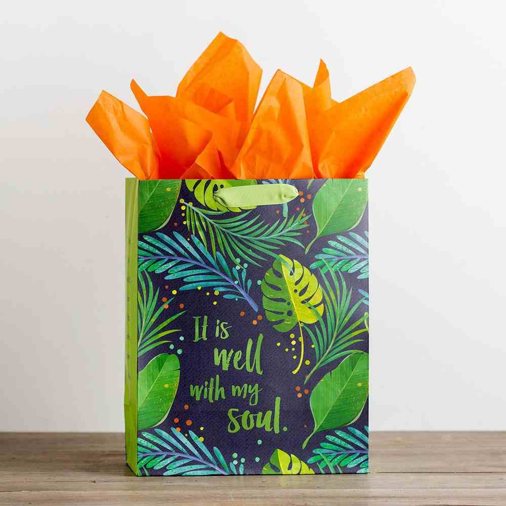 Gift Bag Large: It is Well, Green Leaves (Incl Two Sheets Tissue Paper & Gift Tag) Stationery