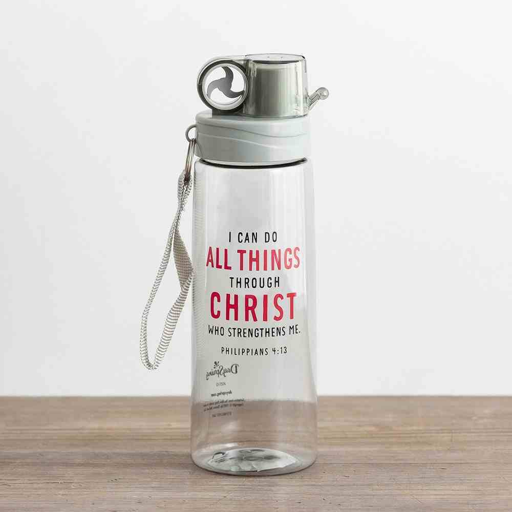 Plastic Water Bottle: I Can Do All Things Through Christ...Clear (Philippians 4:13) Homeware