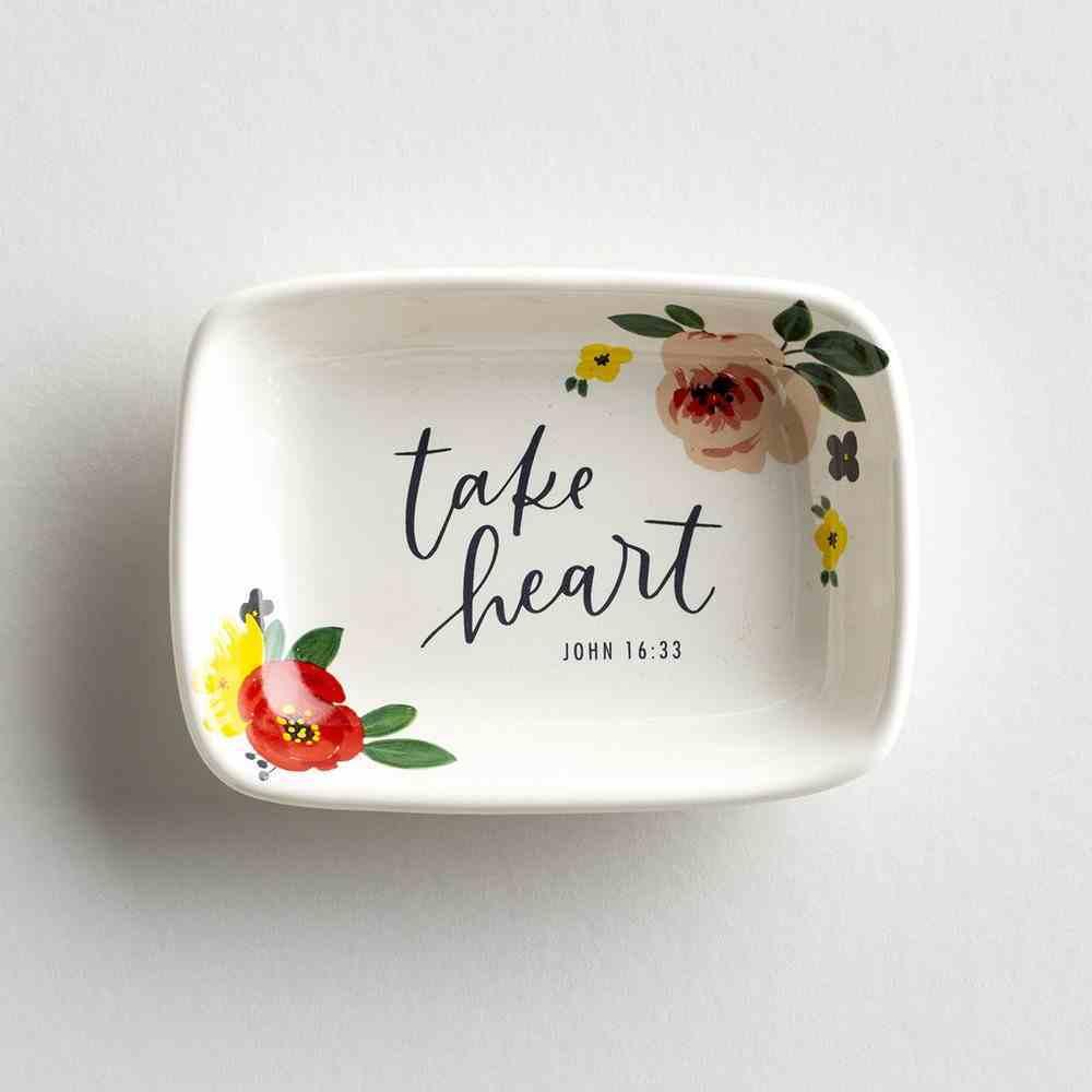 Ceramic Trinket Dish: Take Heart, White Background/Flowers/Black Text (John 16:33) Homeware