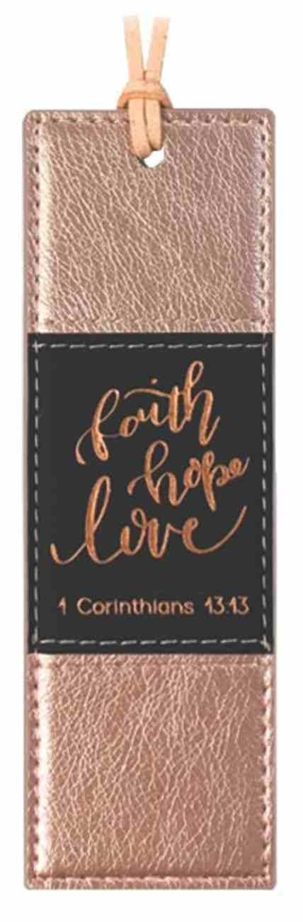 Bookmark: Faith Hope Love, Rose Gold With Black Imitation Leather