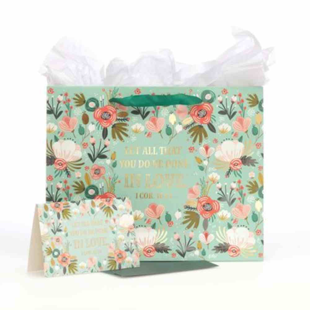 Gift Bag With Card: All Done in Love, Green Floral Stationery