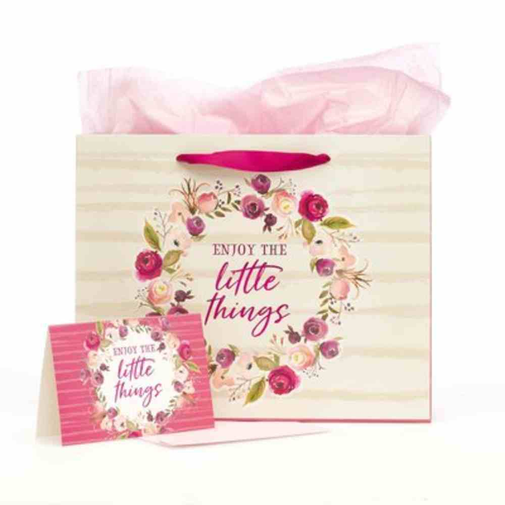 Gift Bag With Card: Little Things, Light Pink Floral Stationery