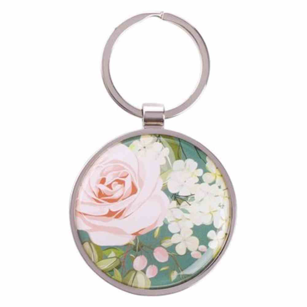 Keyring in Tin: Joy Teal Floral Silver (John 15:11) (That Joy May Be In You Collection) Jewellery