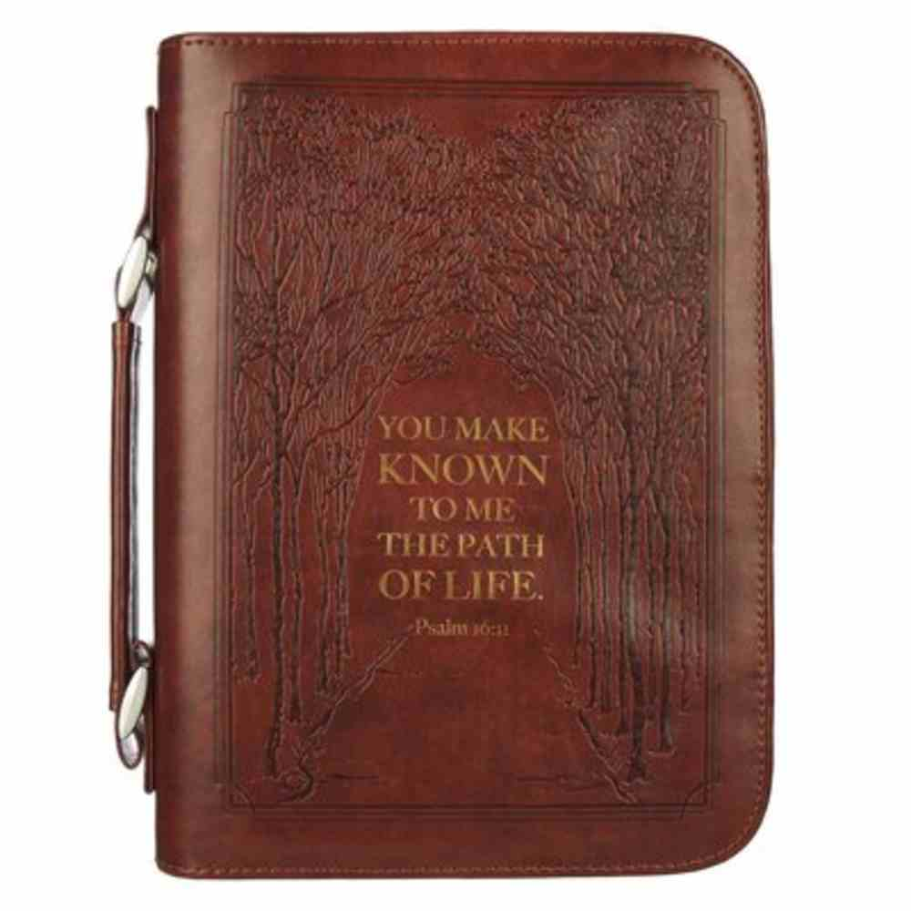 Bible Cover Medium: Path of Life Brown (Ps 16:11) Imitation Leather