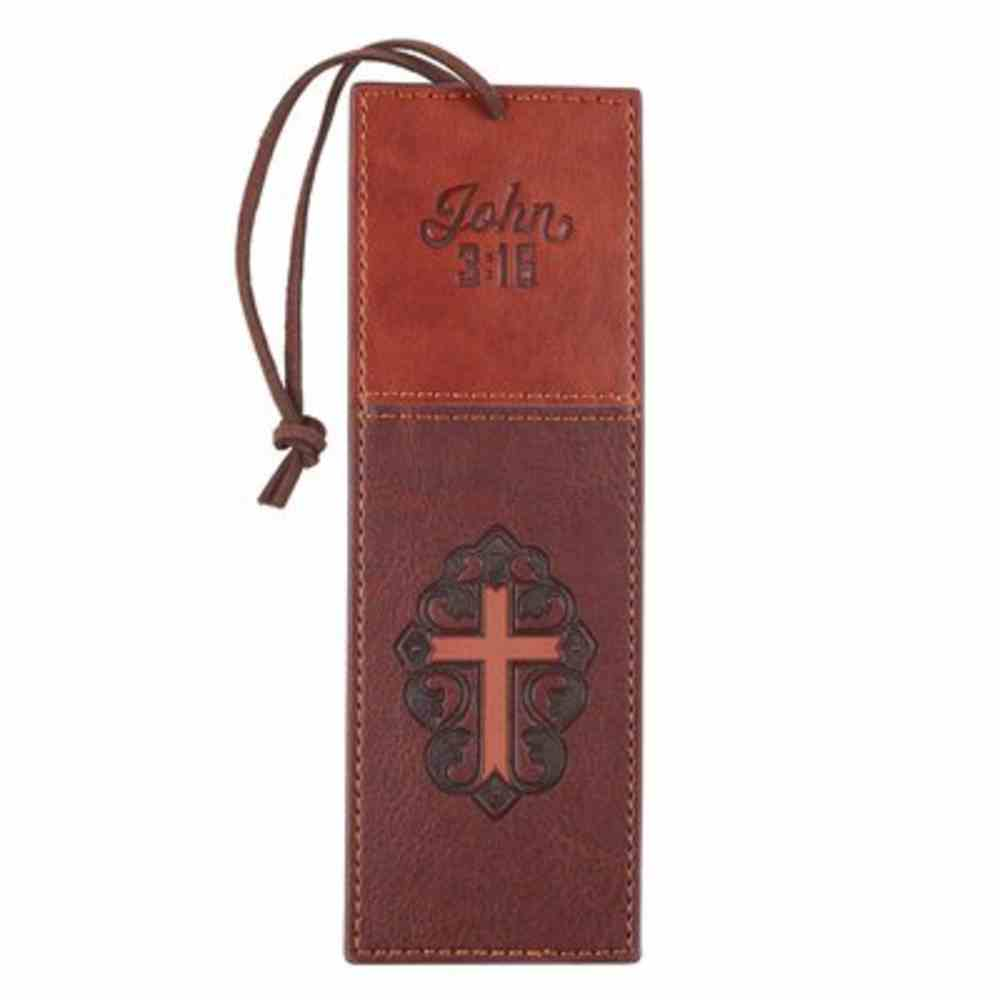 J3: 16  Bookmark With Tassel  Brown Cross (John 3 16) (John 3 16 Collection) Imitation Leather
