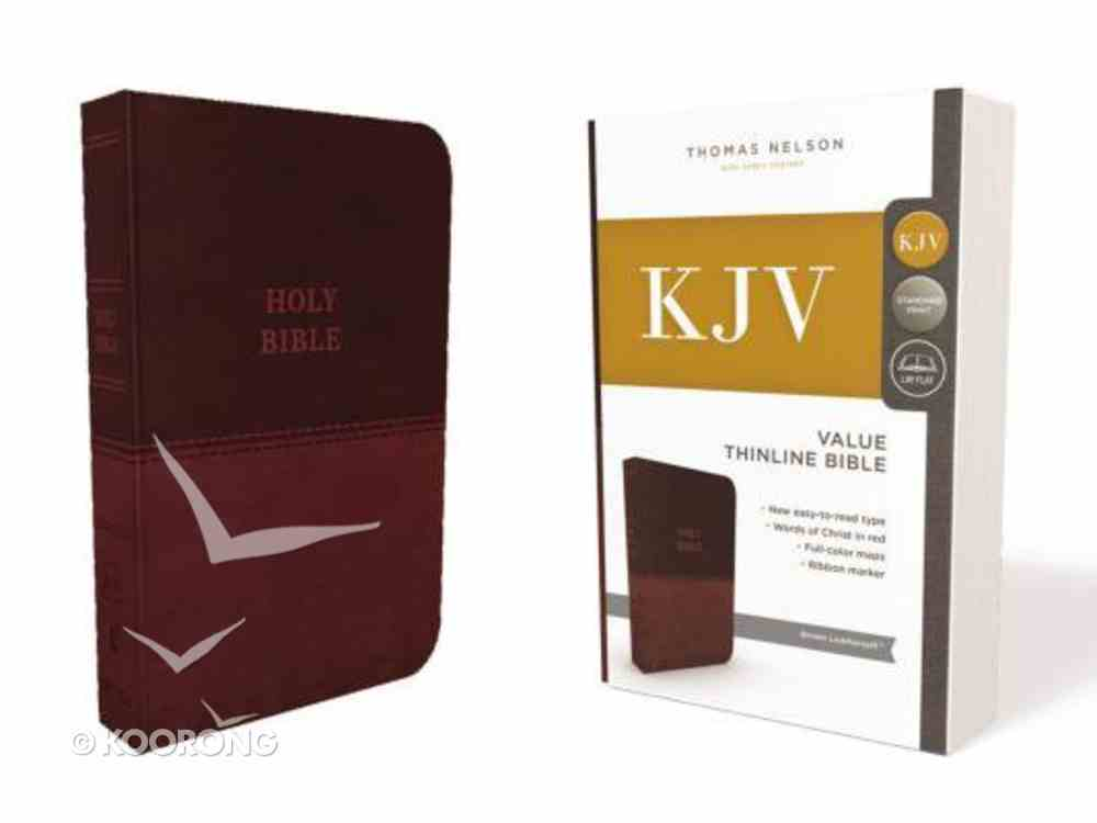 KJV Value Thinline Bible Brown (Red Letter Edition) Premium Imitation Leather