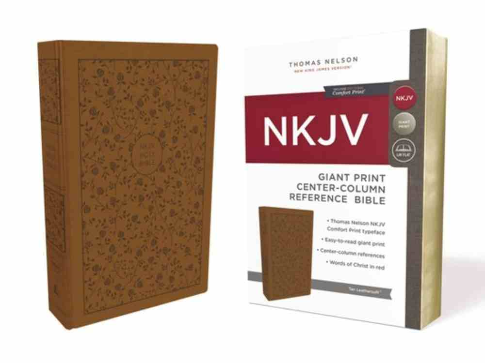 NKJV Reference Bible Giant Print Tan (Red Letter Edition) Premium Imitation Leather