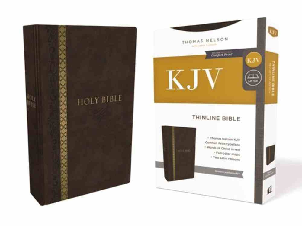KJV Thinline Bible Brown Indexed (Red Letter Edition) Premium Imitation Leather