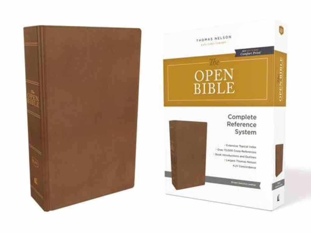 KJV Open Bible Brown (Red Letter Edition) Genuine Leather