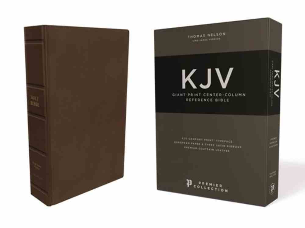 KJV Reference Bible Giant Print Brown Premier Collection (Black Letter Edition) Genuine Leather