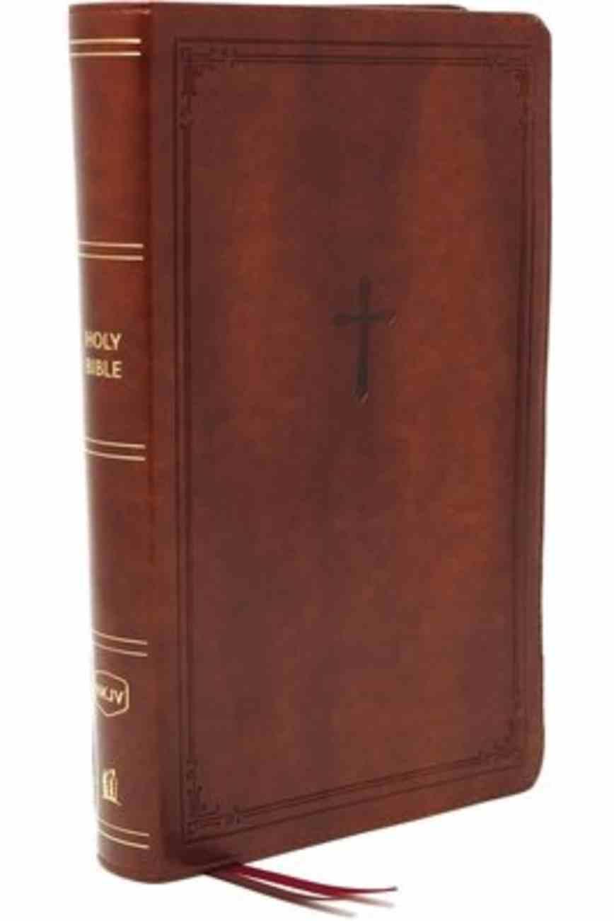 NKJV End-Of-Verse Reference Bible Compact Large Print Brown (Red Letter Edition) Premium Imitation Leather