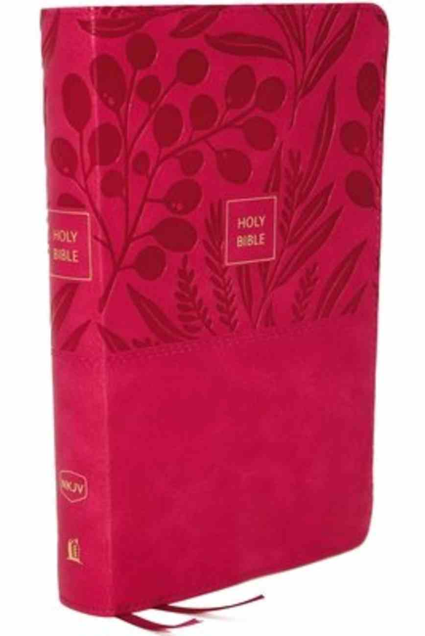 NKJV End-Of-Verse Reference Bible Personal Size Large Print Pink Indexed (Red Letter Edition) Premium Imitation Leather
