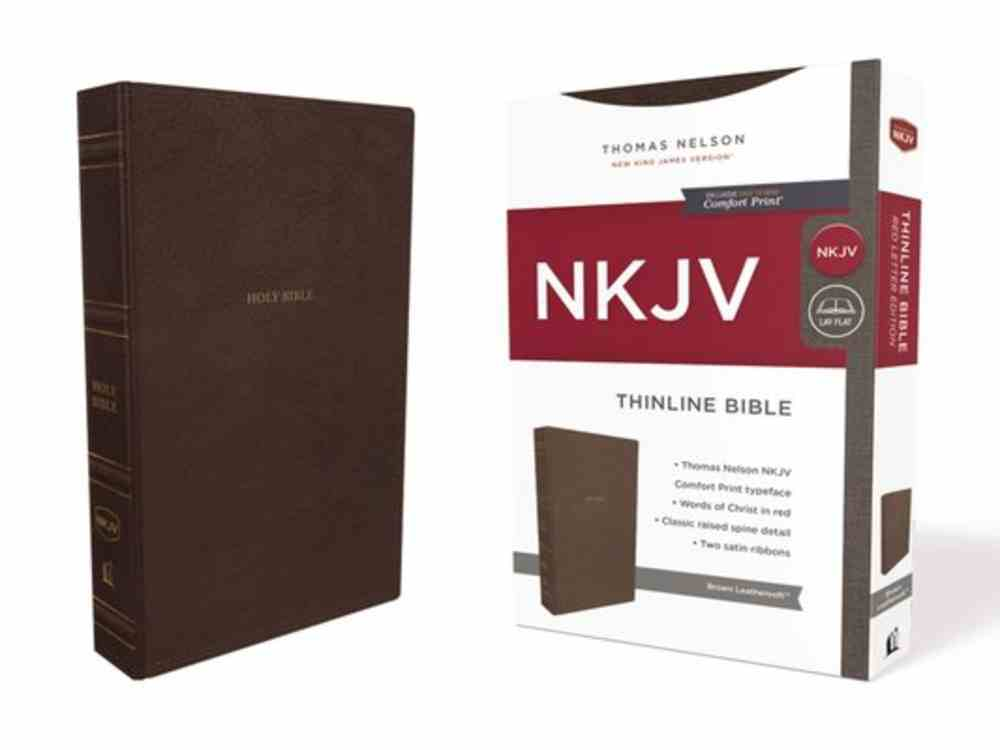 NKJV Thinline Bible Brown (Red Letter Edition) Premium Imitation Leather
