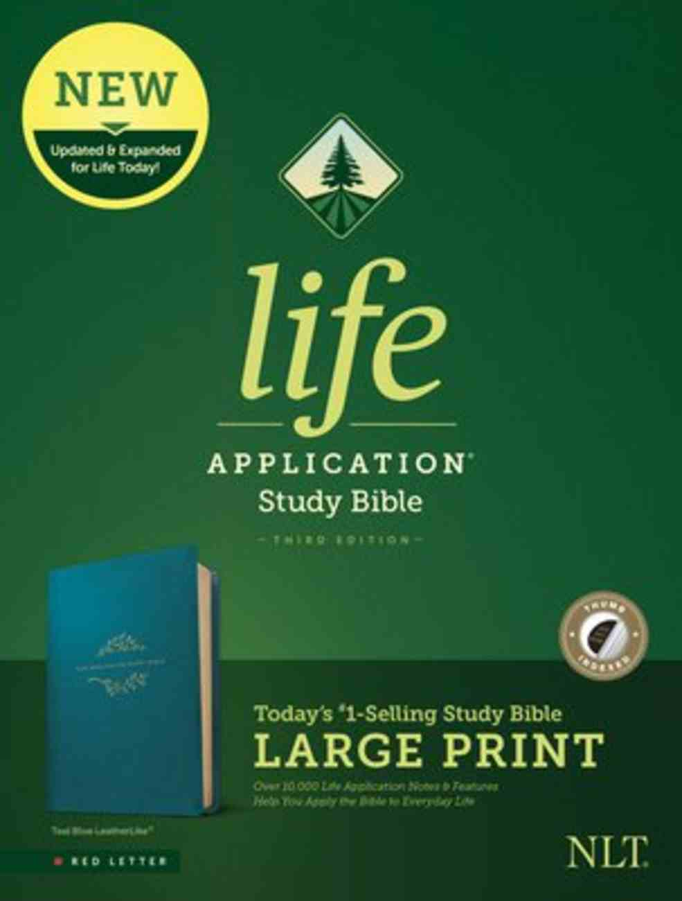 NLT Life Application Study Bible 3rd Edition Large Print Teal Blue Indexed (Red Letter Edition) Imitation Leather