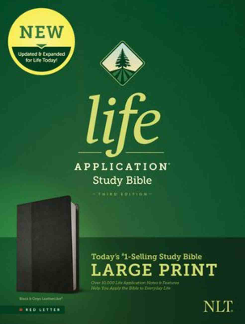 NLT Life Application Study Bible 3rd Edition Large Print Black/Onyx (Red Letter Edition) Imitation Leather