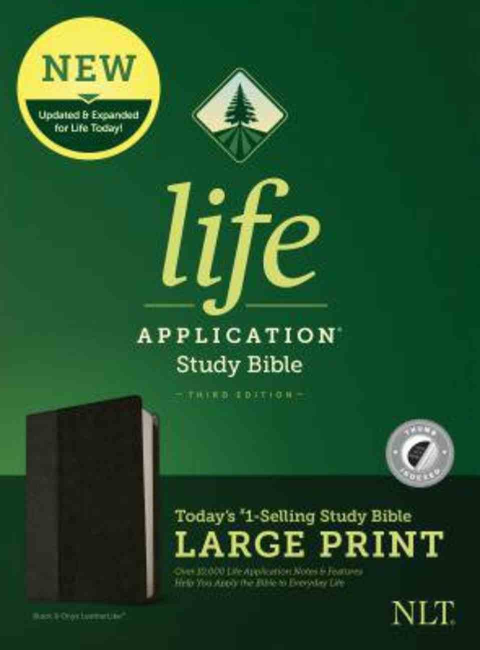 NLT Life Application Study Bible Third Edition Large Print Black/Onyx Indexed (Black Letter Edition) Imitation Leather