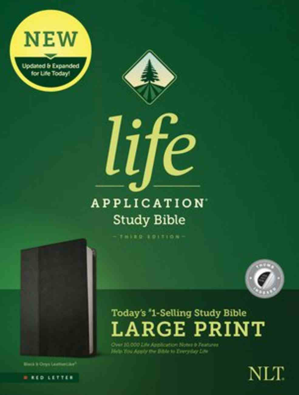 NLT Life Application Study Bible 3rd Edition Large Print Black/Onyx Indexed (Red Letter Edition) Imitation Leather