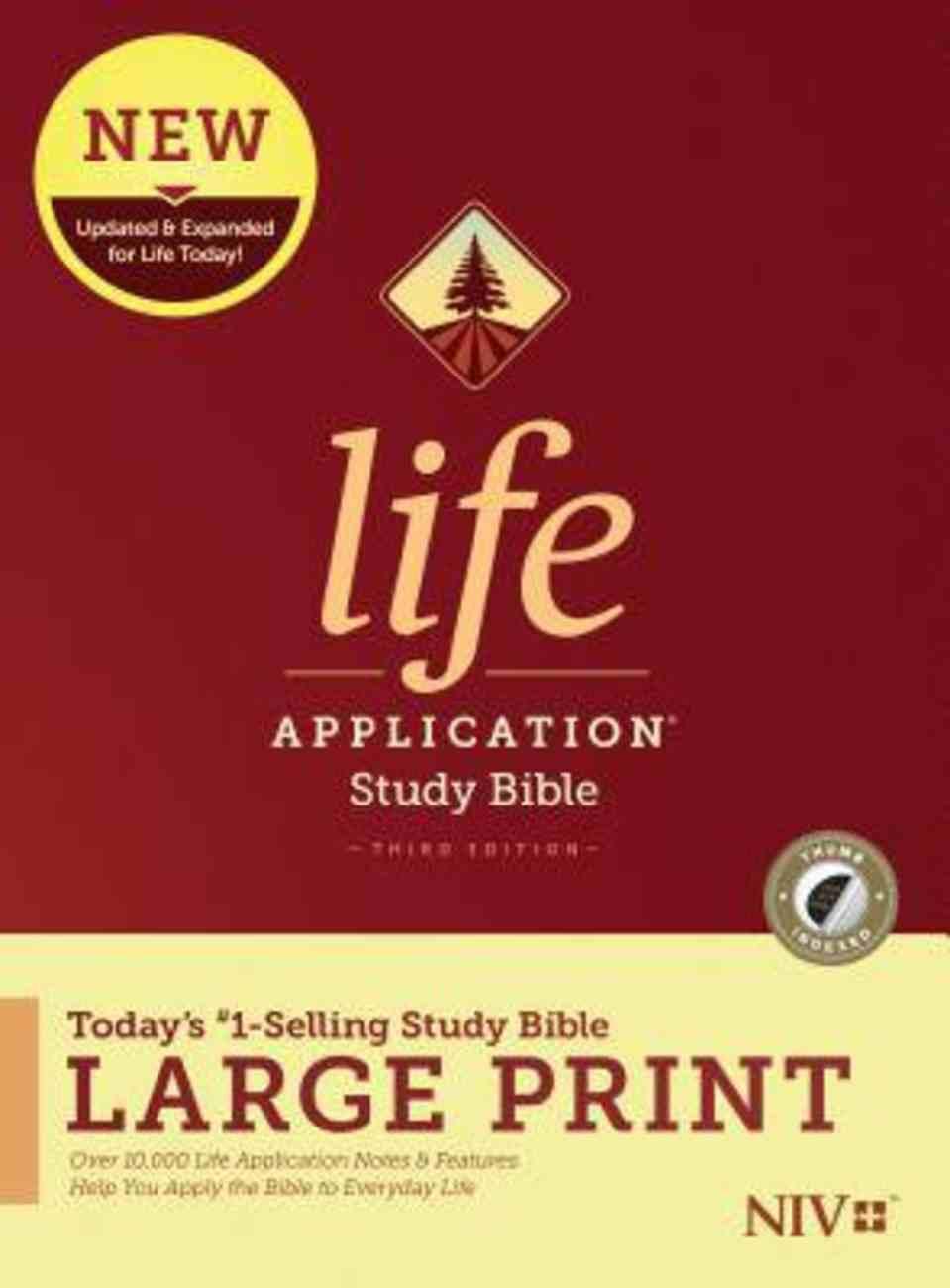 NIV Life Application Study Bible Third Edition Large Print Indexed (Black Letter Edition) Hardback