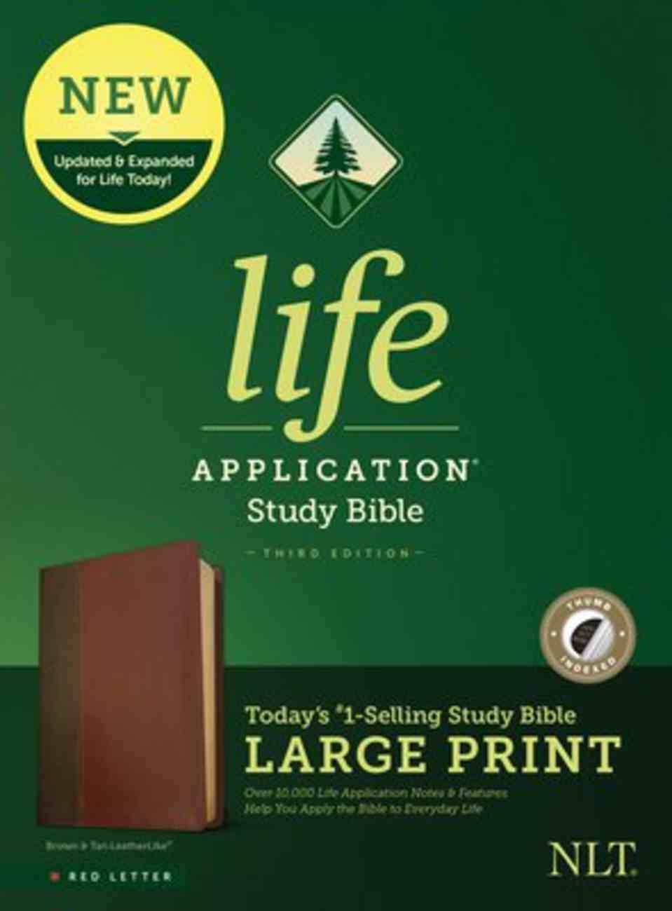 NLT Life Application Study Bible Third Edition Large Print Brown/Tan Indexed (Red Letter Edition) Imitation Leather