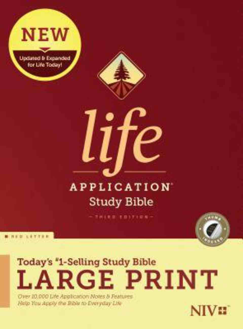 NIV Life Application Study Bible Third Edition Large Print Indexed (Red Letter Edition) Hardback