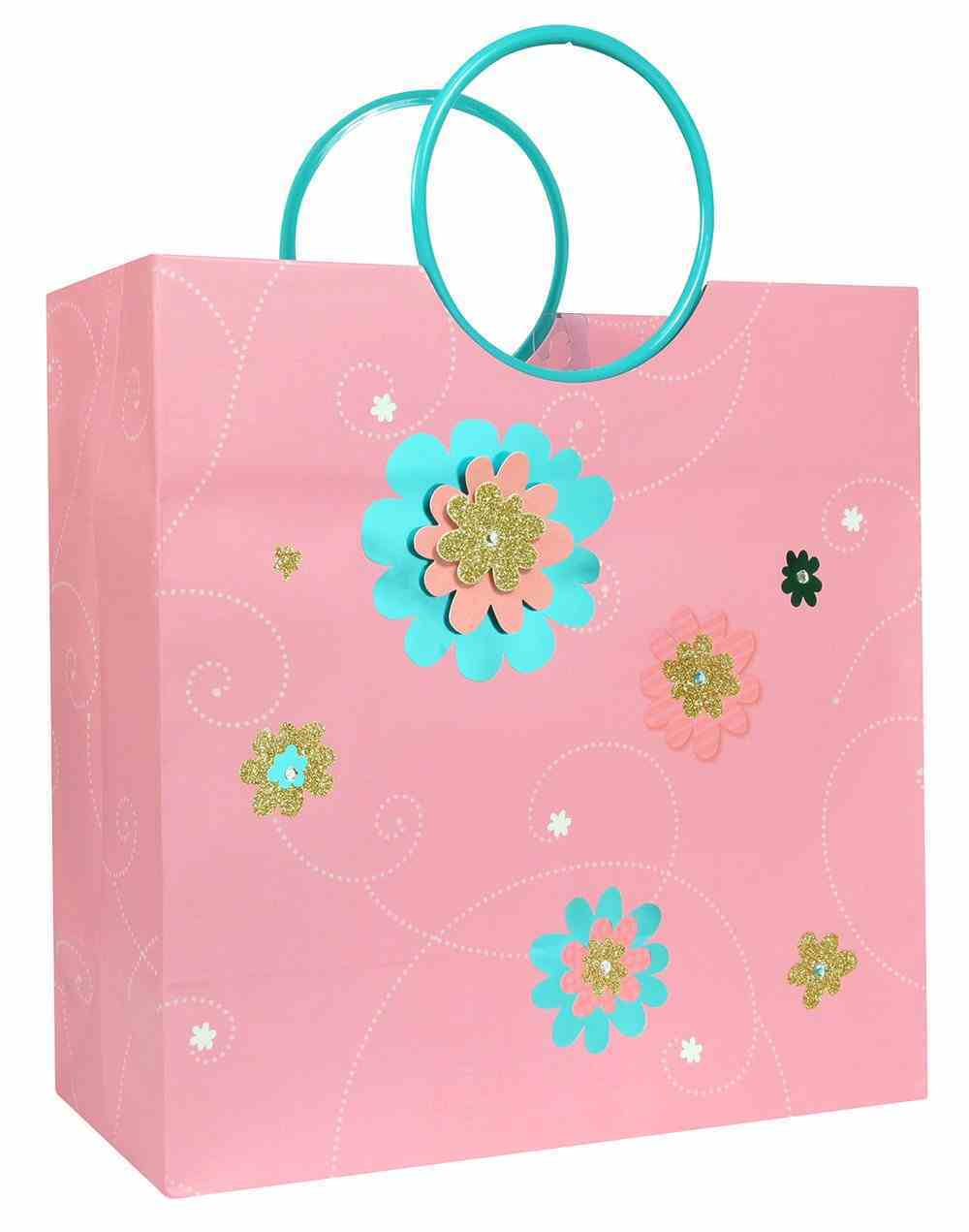 Gift Bag Large: Thank God Everyday, Pink/Blue Flowers (Incl Two Sheets Tissue Paper & Gift Tag) Stationery