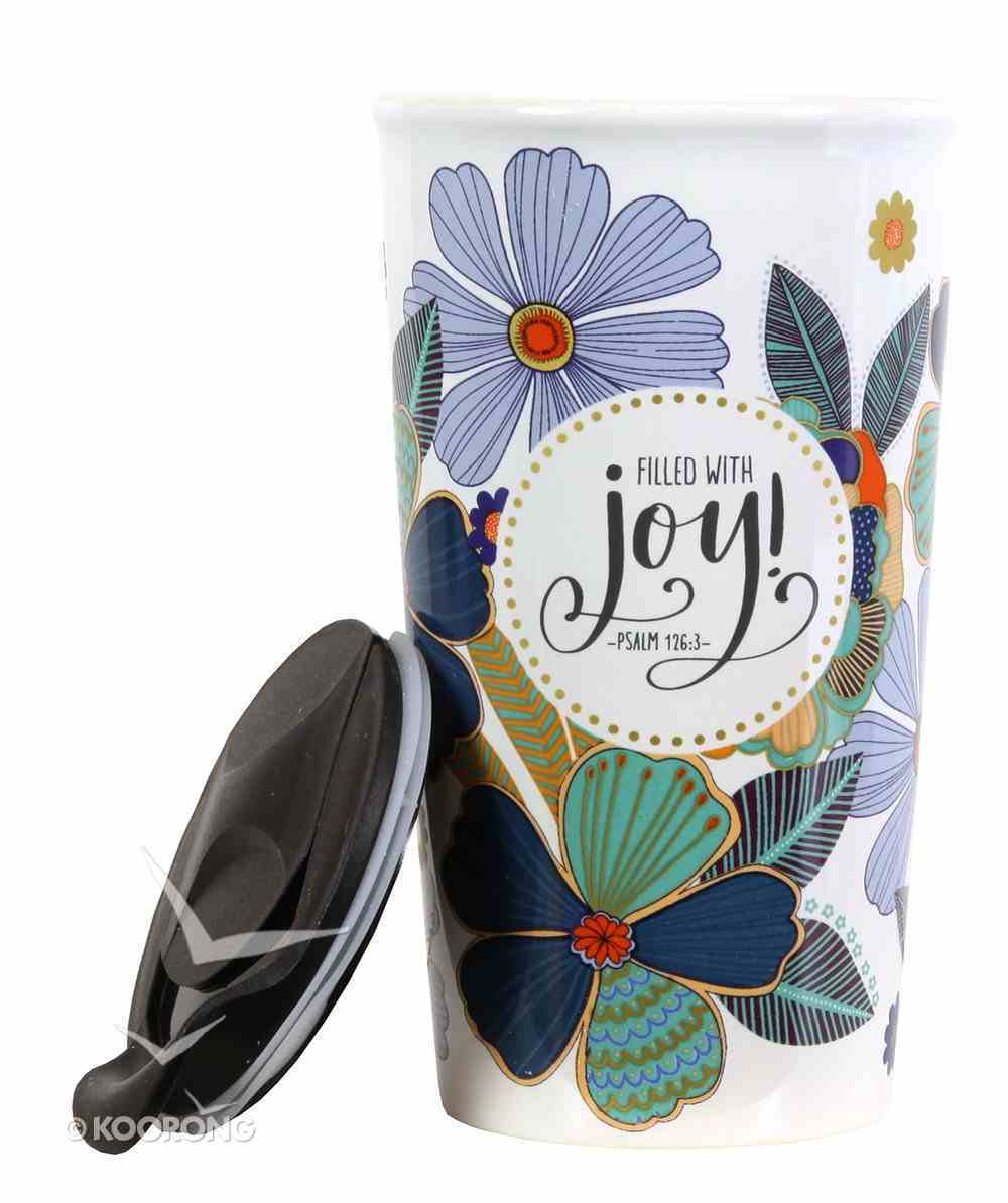 Ceramic Tumblers With Plastic Lid: Filled With Joy, Blue/Green Flowers (Psalm 126:3) Homeware