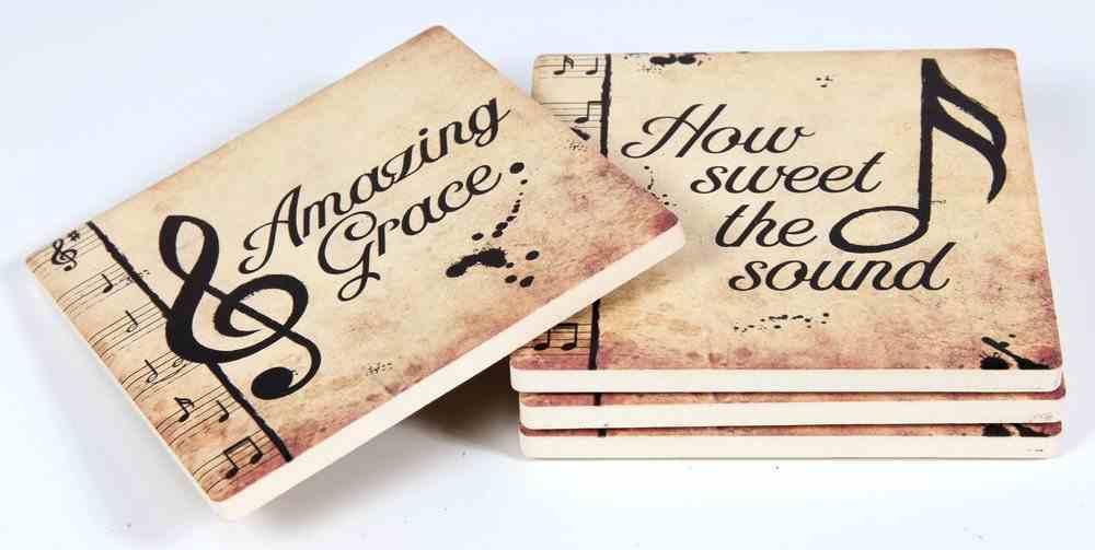 Ceramic Square House Coaster Set of 4: Amazing Grace, Music Notes, Cream/Black Homeware