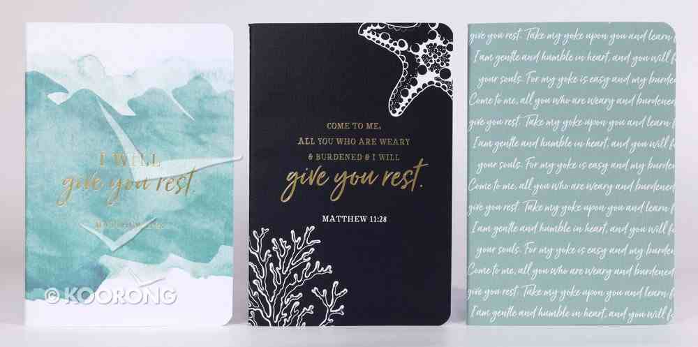 Notebook Set of 3: I Will Give You Rest, Navy/Blue/White (Matthew 11:28) Pack