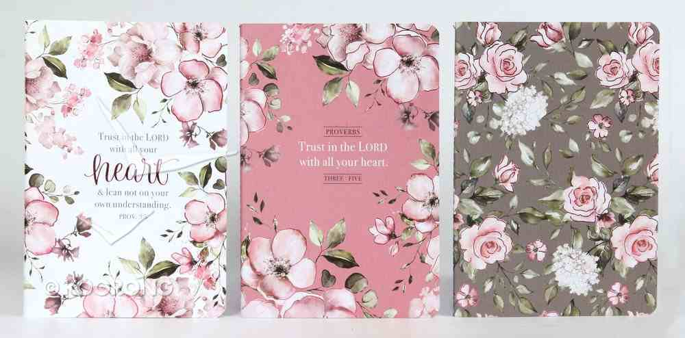 Notebook Set of 3: Trust in the Lord, Pink Floral (Proverbs 3:5) Paperback