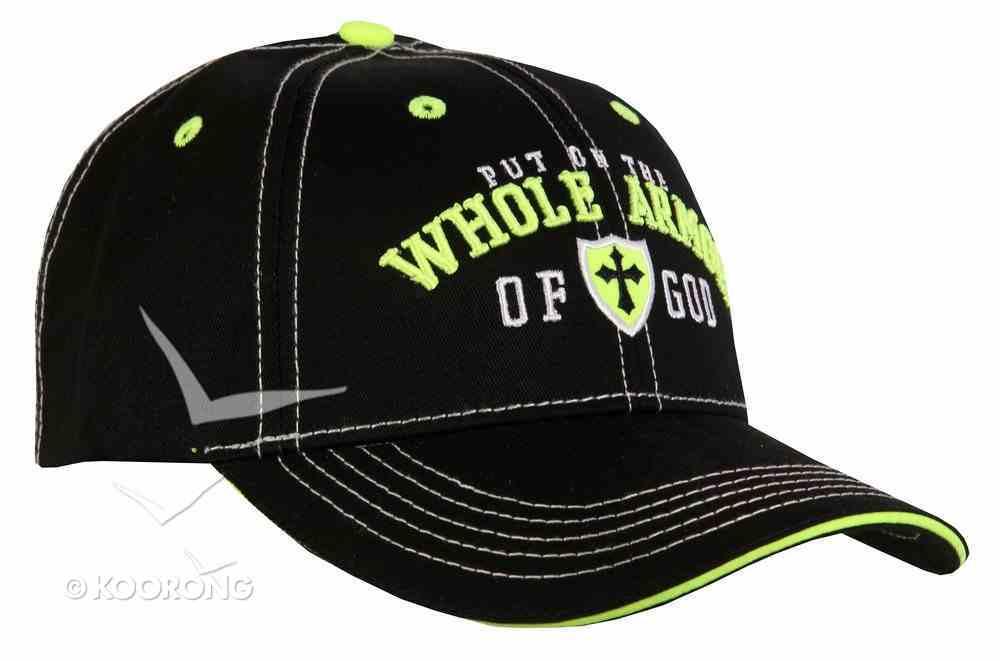 Men's Cap: Whole Armor of God, Black/Lime/White Soft Goods