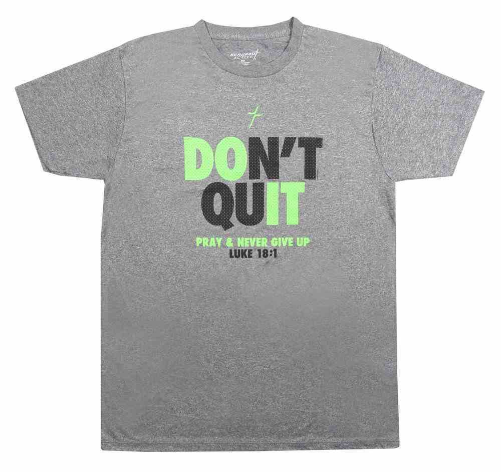 Men's Activewear T-Shirt: Don't Quit Small, Grey/Black/Green (Luke 18:1) Soft Goods