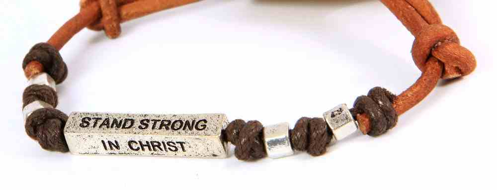 Men's Faith Gear Leather Bracelet: Stand Strong in Christ Jewellery