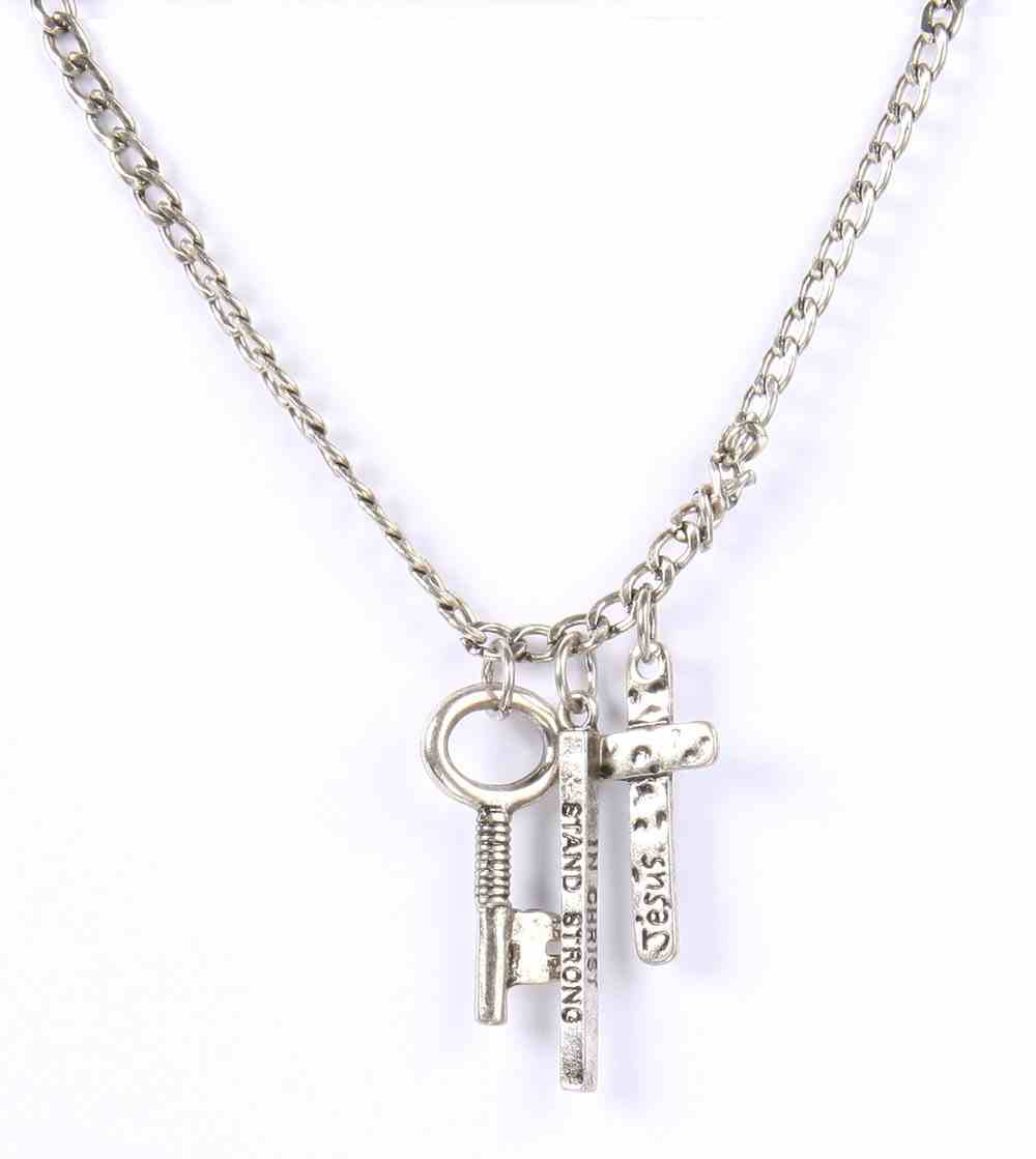 Men's Faith Gear Necklace: Stand Strong in Christ Silver Jewellery