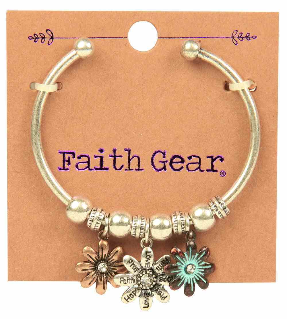Girl's Faith Gear Open-Sided Bangle: Flowers (Antique Gold/aged Silver) Jewellery