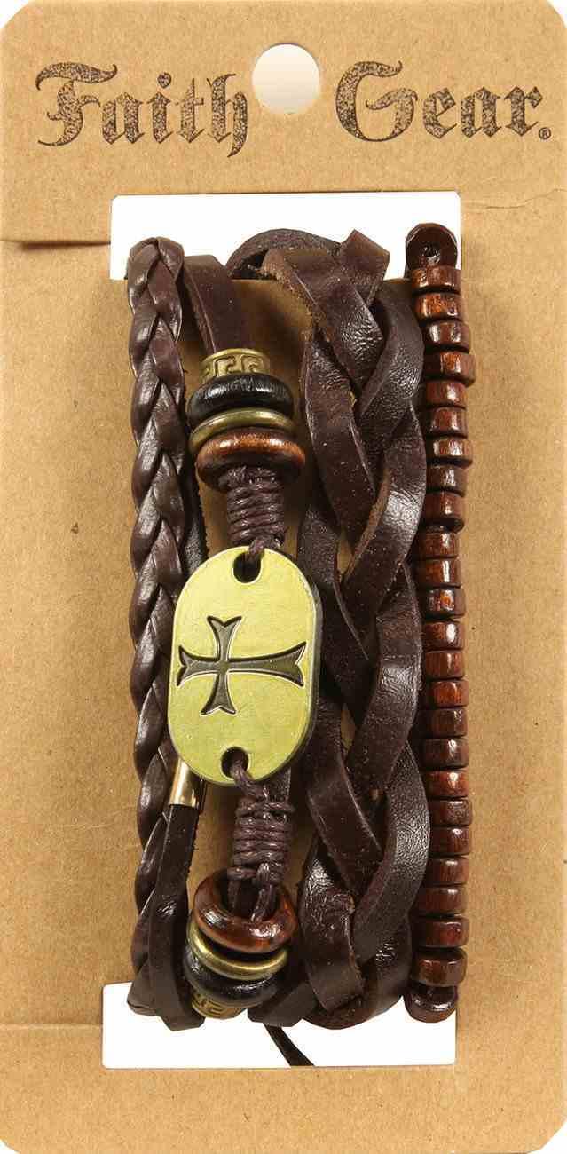 Men's Faith Gear Leather Bracelet: Gold Cross, Leather + Original Castings (Multiple Colors) Jewellery